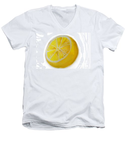 Men's V-Neck T-Shirt featuring the painting Citrus by Marisela Mungia