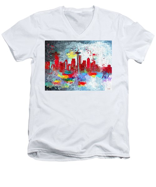 City Of Seattle Grunge Men's V-Neck T-Shirt