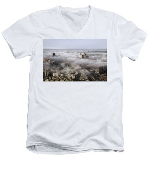 Men's V-Neck T-Shirt featuring the photograph City Skyscrapers Above The Clouds by Ron Shoshani