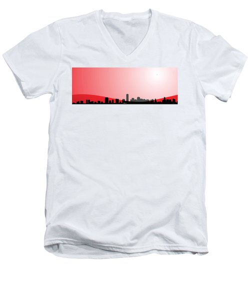Cityscapes - Miami Skyline In Black On Red Men's V-Neck T-Shirt by Serge Averbukh