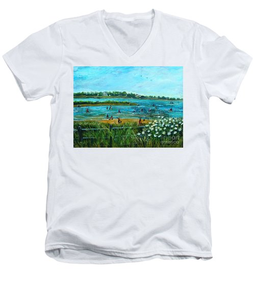 Men's V-Neck T-Shirt featuring the painting Clam Diggers At Menauhant Beach by Rita Brown