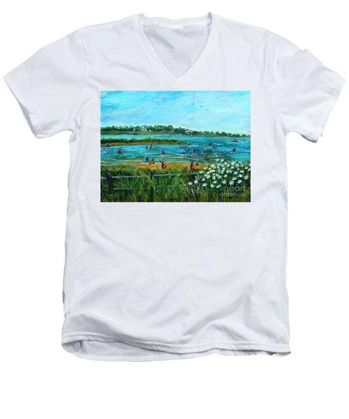 Clam Diggers At Menauhant Beach Men's V-Neck T-Shirt by Rita Brown