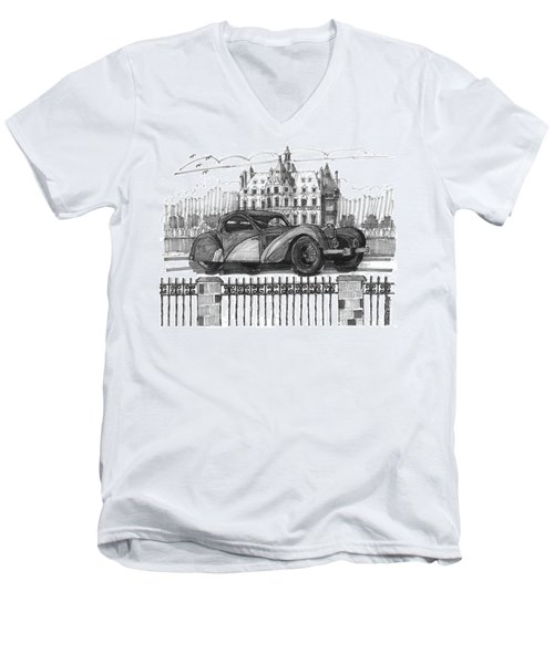 Classic Auto With Chateau Men's V-Neck T-Shirt