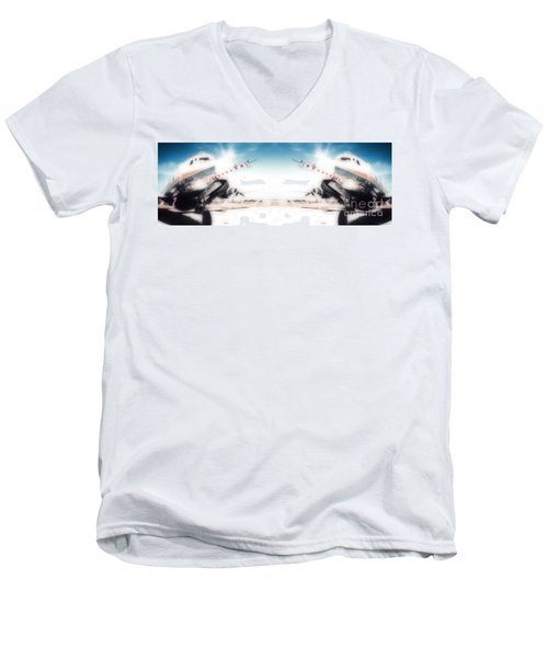 Men's V-Neck T-Shirt featuring the photograph Propeller Aircraft by R Muirhead Art