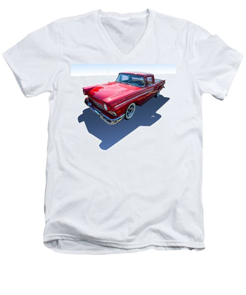 Men's V-Neck T-Shirt featuring the photograph Classic Red Truck by Gianfranco Weiss