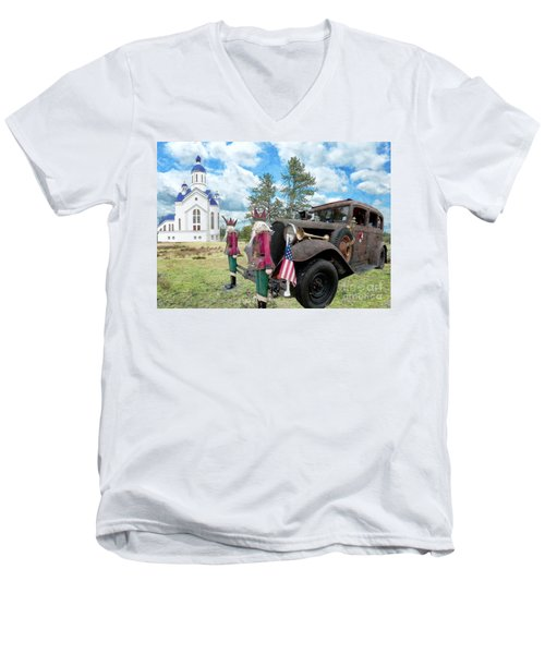 Men's V-Neck T-Shirt featuring the photograph Classic Ride by Liane Wright