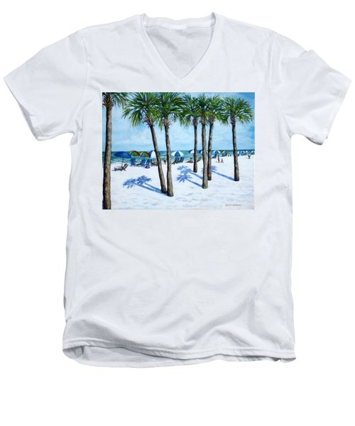 Men's V-Neck T-Shirt featuring the painting Clearwater Beach Morning by Penny Birch-Williams