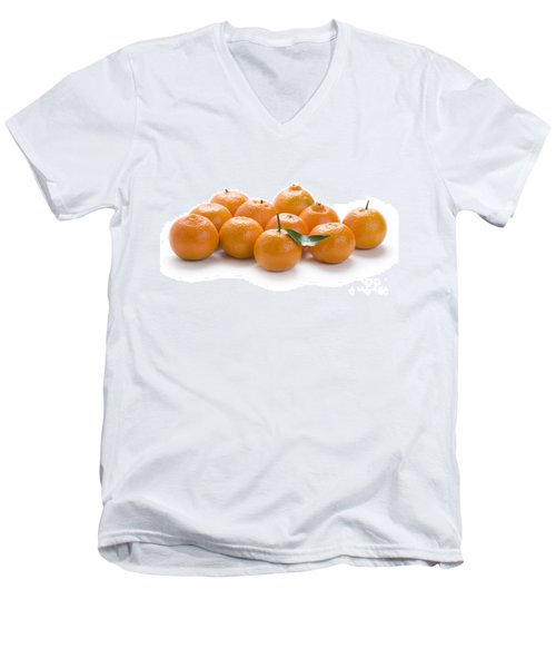 Men's V-Neck T-Shirt featuring the photograph Clementine Oranges On White by Lee Avison