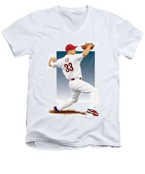 Cliff Lee Men's V-Neck T-Shirt by Scott Weigner
