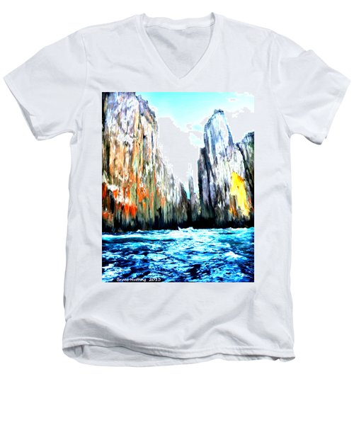 Men's V-Neck T-Shirt featuring the painting Cliffs By The Sea by Bruce Nutting