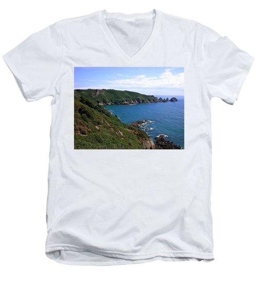 Cliffs On Isle Of Guernsey Men's V-Neck T-Shirt
