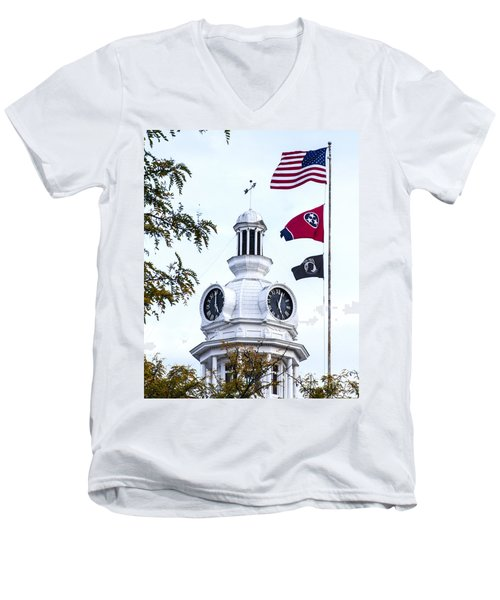 Clock Tower With Tennessee Mia Us Flag Art Men's V-Neck T-Shirt