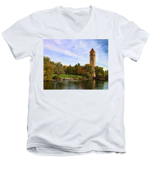 Clocktower And Autumn Colors Men's V-Neck T-Shirt
