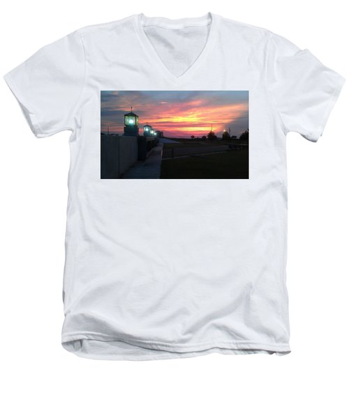 Closed Flood Gates Sunset Men's V-Neck T-Shirt by Deborah Lacoste