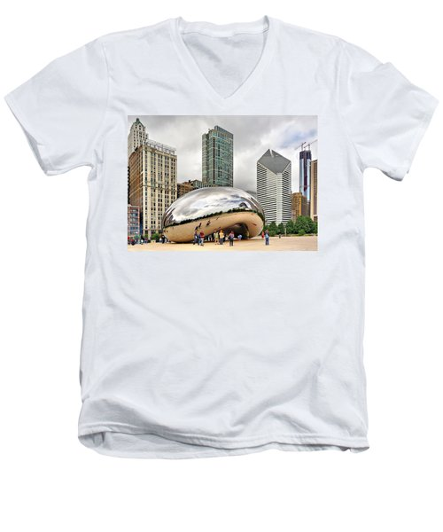 Men's V-Neck T-Shirt featuring the photograph Cloud Gate In Chicago by Mitchell R Grosky