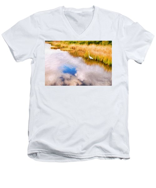 Cloud Reflection In Water Digital Art Men's V-Neck T-Shirt
