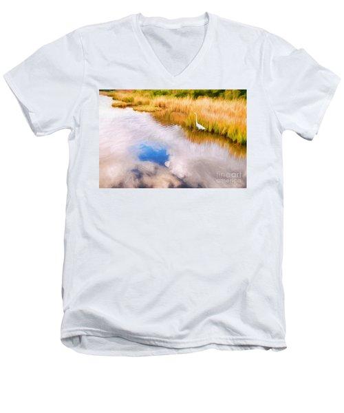 Cloud Reflection In Water Digital Art Men's V-Neck T-Shirt by Vizual Studio
