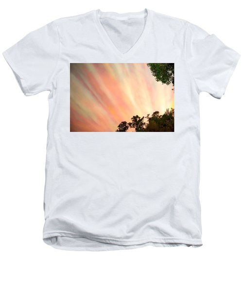 Men's V-Neck T-Shirt featuring the photograph Cloud Streams by Charlotte Schafer