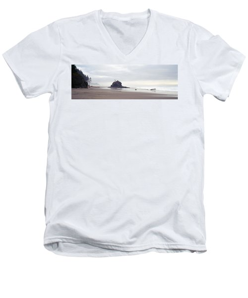Coast La Push Olympic National Park Wa Men's V-Neck T-Shirt by Panoramic Images