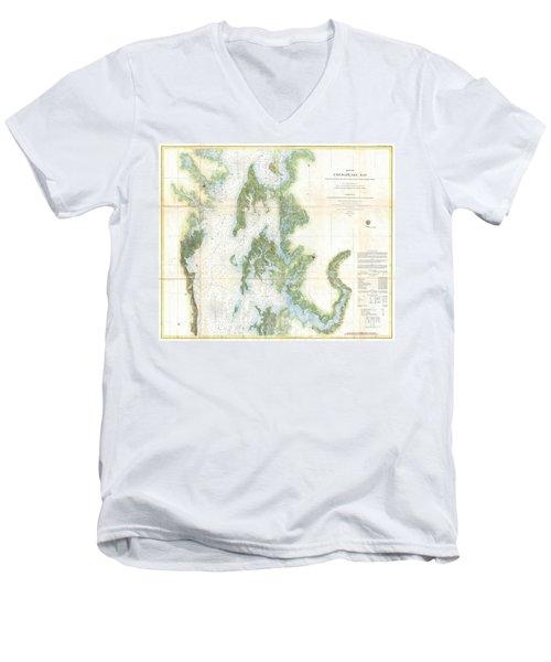 Coast Survey Chart Or Map Of The Chesapeake Bay Men's V-Neck T-Shirt