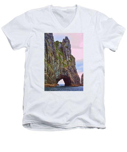Coastal Rock Open Arch Men's V-Neck T-Shirt by Linda Phelps