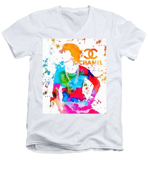 Coco Chanel Paint Splatter Men's V-Neck T-Shirt by Dan Sproul