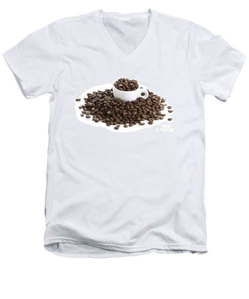 Men's V-Neck T-Shirt featuring the photograph Coffee Beans And Coffee Cup Isolated On White by Lee Avison