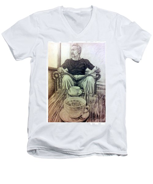 Men's V-Neck T-Shirt featuring the drawing Coffee Break by R Muirhead Art
