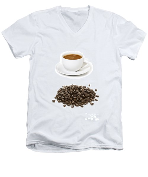 Men's V-Neck T-Shirt featuring the photograph Coffee Cups And Coffee Beans by Lee Avison