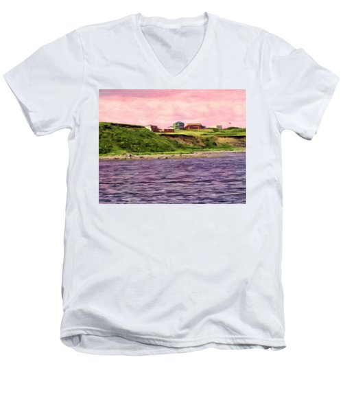 Cold Bay From The Dock Men's V-Neck T-Shirt by Michael Pickett