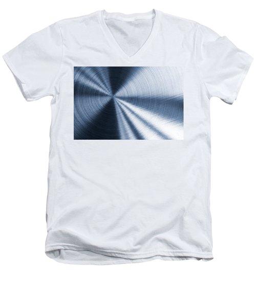 Cold Blue Metallic Texture Men's V-Neck T-Shirt