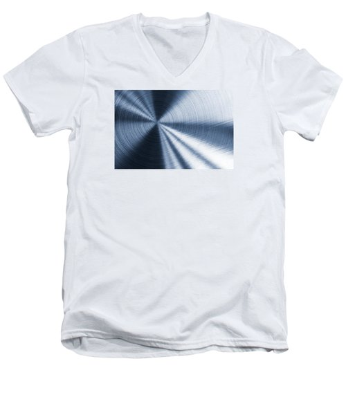 Cold Blue Metallic Texture Men's V-Neck T-Shirt
