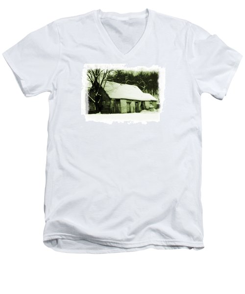 Countryside Winter Scene Men's V-Neck T-Shirt by Nina Ficur Feenan