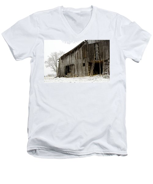 Men's V-Neck T-Shirt featuring the photograph Cold Winter At The Barn  by Wilma  Birdwell