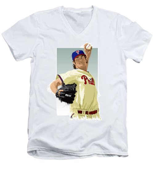 Cole Hamels Men's V-Neck T-Shirt by Scott Weigner
