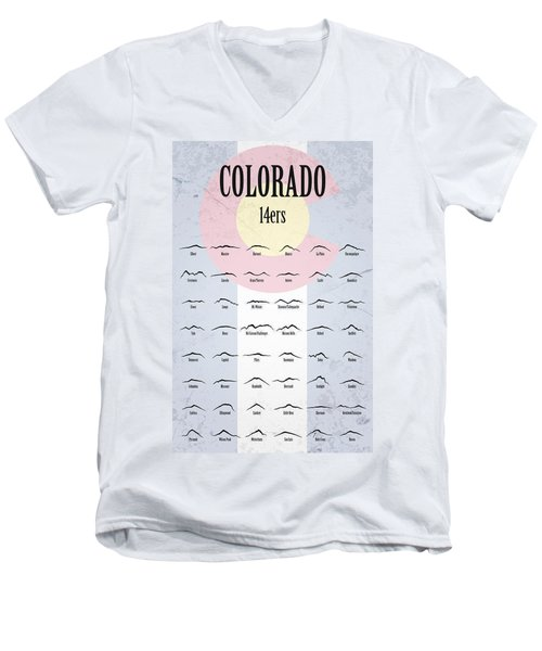 Colorado 14ers Poster Men's V-Neck T-Shirt