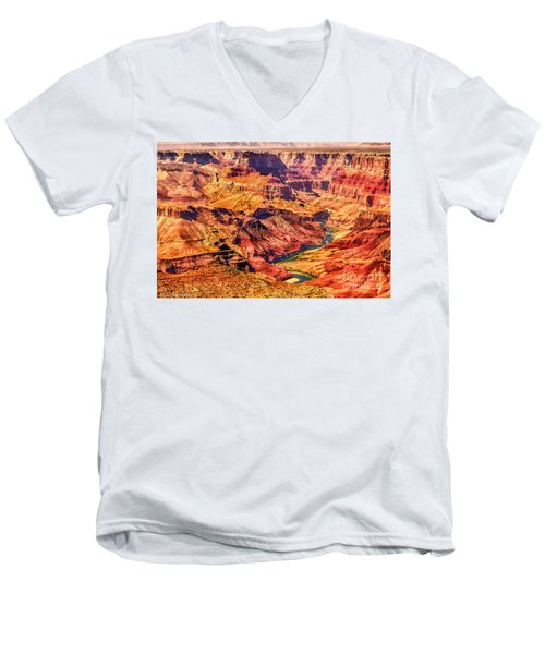 Colorado River 1 Mi Below 100 Miles To Vermillion Cliffs Utah Men's V-Neck T-Shirt