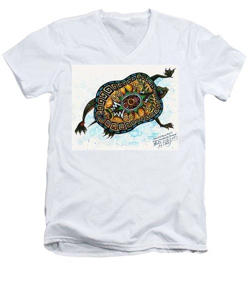 Colored Cultural Zoo C Eastern Woodlands Tortoise Men's V-Neck T-Shirt by Melinda Dare Benfield
