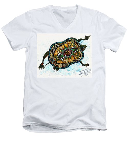 Colored Cultural Zoo C Eastern Woodlands Tortoise Men's V-Neck T-Shirt