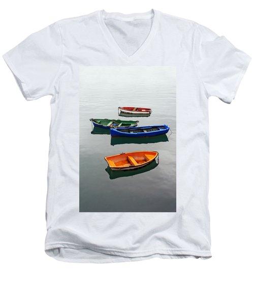 colorful boats on Santurtzi Men's V-Neck T-Shirt