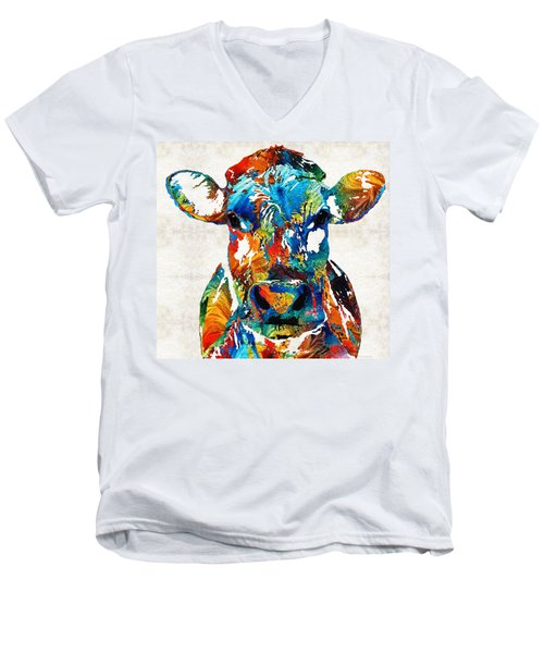 Colorful Cow Art - Mootown - By Sharon Cummings Men's V-Neck T-Shirt