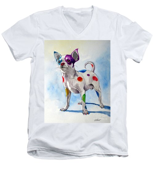 Men's V-Neck T-Shirt featuring the painting Colorful Dalmatian Chihuahua by Christopher Shellhammer