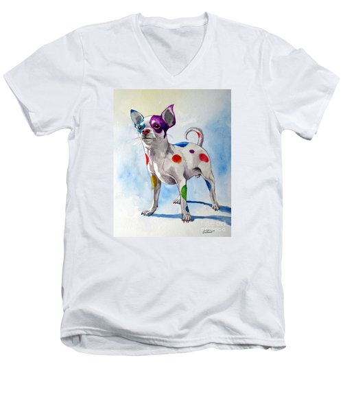 Colorful Dalmatian Chihuahua Men's V-Neck T-Shirt