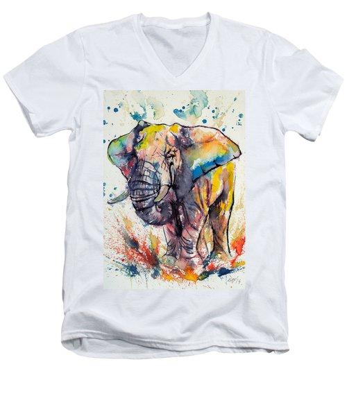Colorful Elephant Men's V-Neck T-Shirt by Kovacs Anna Brigitta