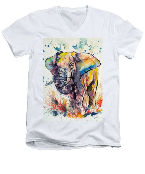 Colorful Elephant Men's V-Neck T-Shirt
