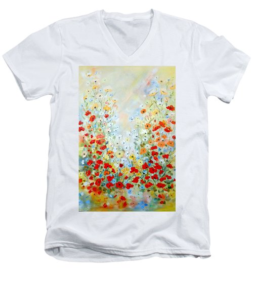 Men's V-Neck T-Shirt featuring the painting Colorful Field Of Poppies by Dorothy Maier