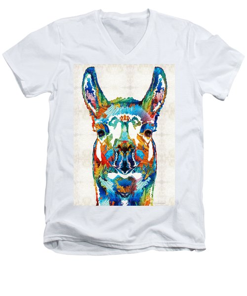 Colorful Llama Art - The Prince - By Sharon Cummings Men's V-Neck T-Shirt by Sharon Cummings