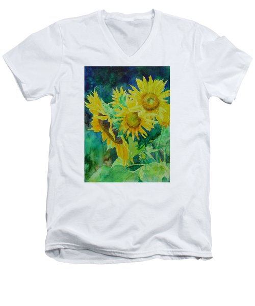 Colorful Original Sunflowers Flower Garden Art Artist K. Joann Russell Men's V-Neck T-Shirt by Elizabeth Sawyer