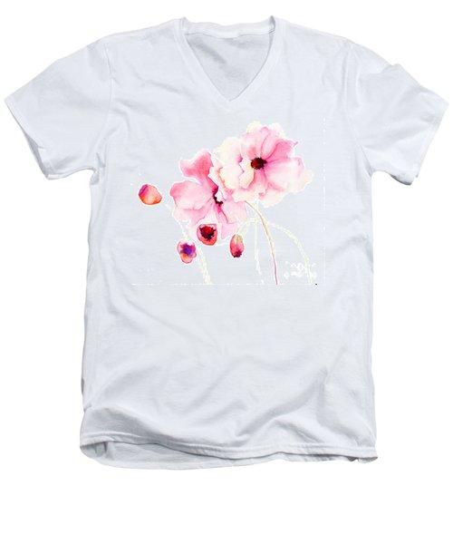 Colorful Pink Flowers Men's V-Neck T-Shirt