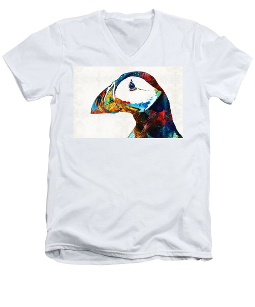 Colorful Puffin Art By Sharon Cummings Men's V-Neck T-Shirt by Sharon Cummings